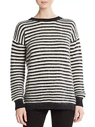 Rebecca Minkoff Worth Striped Flyaway Back Sweater Black White