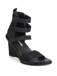Ann Demeulemeester Suede Strappy Wedge Sandals Black