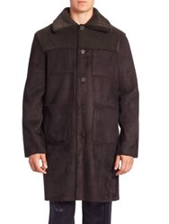 Opening Ceremony Solid Faux Suede Overcoat Black