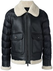 Moncler Padded Sleeve Shearling Jacket Brown
