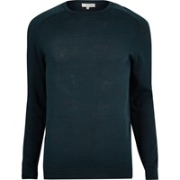 River Island Mens Dark Blue Crew Neck Jumper