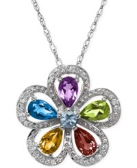 Macy's Multi Stone Pendant Necklace 1 1 4 Ct. T.W. In Sterling Silver