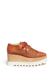 Stella Mccartney 'Elyse' Wicker Panel Wood Platform Derbies Brown