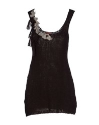 Rose' A Pois Tank Tops Dark Brown
