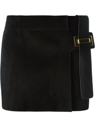 Anthony Vaccarello Suede Mini Skirt Black