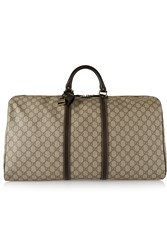 Gucci Joy Large Leather Trimmed Coated Canvas Weekend Bag