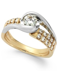 Sirena Diamond Two Row Engagement Ring In 14K Gold 7 8 Ct. T.W.