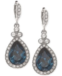 Givenchy Silver Tone Dark Blue Crystal And Pave Teardrop Drop Earrings