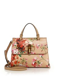Gucci Bamboo Daily Blooms Top Handle Bag Apricot Ivory