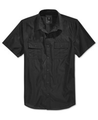 Guess Men's Mesh Short Sleeve Military Style Shirt Jet Black