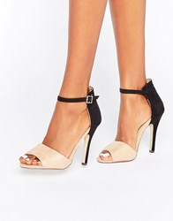 Paper Dolls Colourblock Barely There Sandal Nude Black Beige