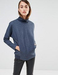 Selected Oversized Sweat Top With Turtle Neck Navy