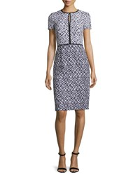 Oscar De La Renta Tweed Keyhole Sheath Dress Navy White Navy White