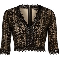 River Island Womens Black Lace Plunge Crop Top