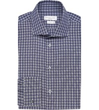 Richard James Basket Checked Cotton Shirt Navy