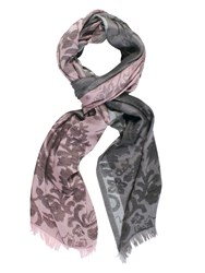 Chesca Floral Patterned Scarf With Frayed Hem Grey