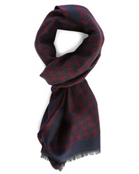 Hartford Blue And Burgundy Houndstooth Silk And Wool Scarf