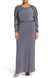 Marina Plus Size Women's Beaded A Line Jersey Gown