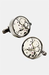 Ravi Ratan Men's Penny Black 40 'Steampunk Watch Movement' Cuff Links Gunmetal