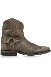 Frye Wyatt Distressed Leather Ankle Boots Brown