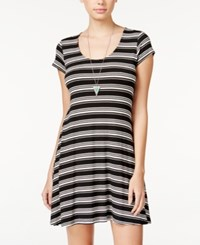 Teeze Me Juniors' Striped A Line Dress Black Off White
