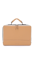 Ben Minkoff Waxy Leather Eton Briefcase Tan