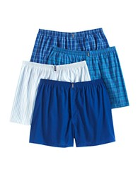 Jockey 4 Pack Stay New Plaid Boxers Assorted Bright Blues