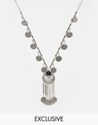 Reclaimed Vintage Coin Tassel Pendant Necklace Silver