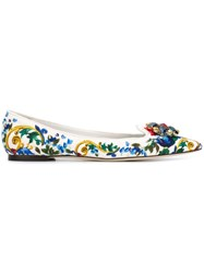 Dolce And Gabbana Embellished Majolica Print Ballerinas Multicolour