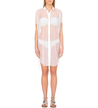 Prism Contrast Trim Sheer Cover Up White Pleat