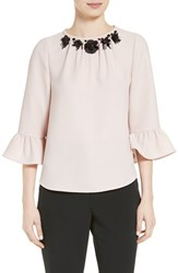 Kate Spade Women's New York Embellished Crepe Top Pink Champagne