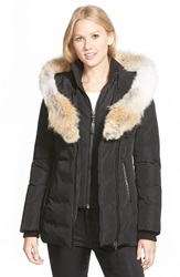 Mackage Hooded Down Parka With Inset Bib And Genuine Coyote Fur Trim Black