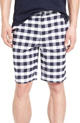 Lacoste Men's Big And Tall Gingham Golf Shorts White Navy Blue
