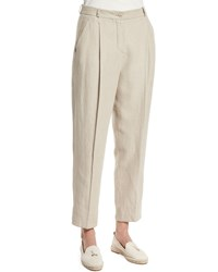 Loro Piana Pleated Front Ankle Pants Raw Linen Women's