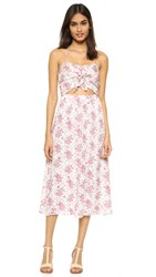 Wayf Cutout Tie Front Dress Garden Print