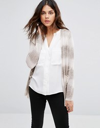Vero Moda Long Cardigan In Grey And White Ombre Silver Mink W. Antiq Multi
