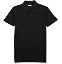 Sunspel Riviera Cotton Mesh Polo Shirt Black
