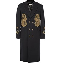 Dries Van Noten Rennie Slim Fit Double Breasted Appliqued Wool Blend Coat Midnight Blue