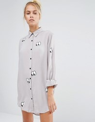 Lazy Oaf Oversized Shirt With Eyes All Over Print Grey