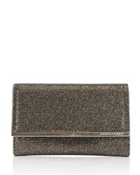 Judith Leiber Couture Guilia Fully Beaded Clutch Bag Silver