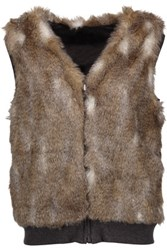 Splendid Ashville Reversible Faux Fur And Cotton Blend Vest Brown