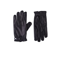 Barneys New York Snap Tab Leather Gloves Black