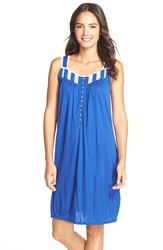 Eileen West Lace Trim Short Nightgown Dark Blue Leaf