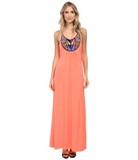 Tbags Los Angeles Beaded Halter Maxi Dress Neon Coral Women's Dress Orange