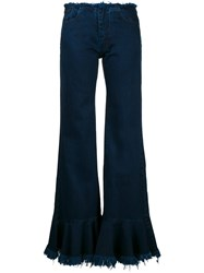 Marques Almeida Marques'almeida Frayed Denim Flares Blue