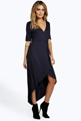 Boohoo Wrap Front Dress Navy