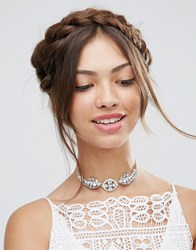 Asos Wedding Crystal Choker Necklace Crystal Clear