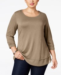 Styleandco. Style Co. Plus Size Three Quarter Sleeve Chiffon Hem Top Natural Blush