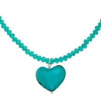 Martick Murano Glass Heart Pendant Necklace Sea Green