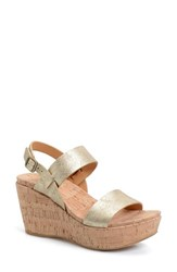 Women's Kork Ease 'Austin' Slingback Wedge Sandal Metallic Gold Leather